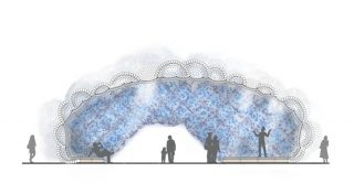 Pavilion structure design by StudioKCA. Head n the Clouds installation in New York, 2014